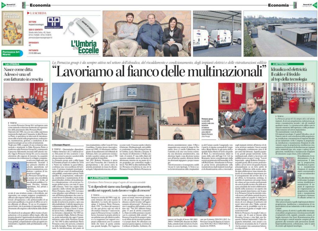 Articolo Corriere dell'Umbria su Pernazza Group - Impiantistica, Ristrutturazioni - Narni/Terni (Umbria)